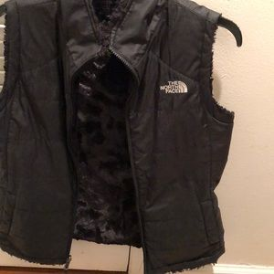 Women's North Face black reversible vest